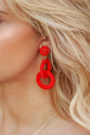 Red Beaded Loop Earrings