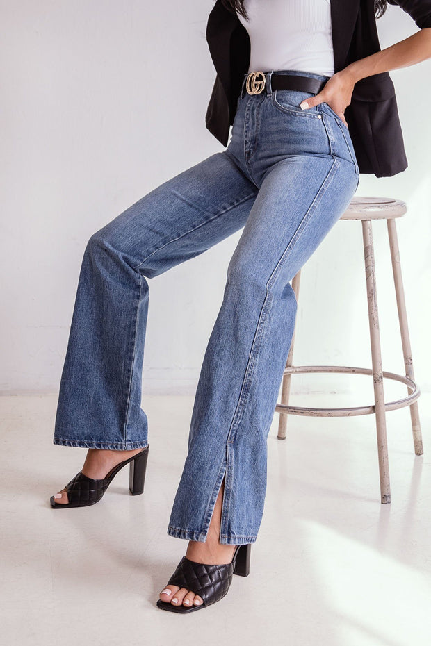 Denim Slit Flare Jeans