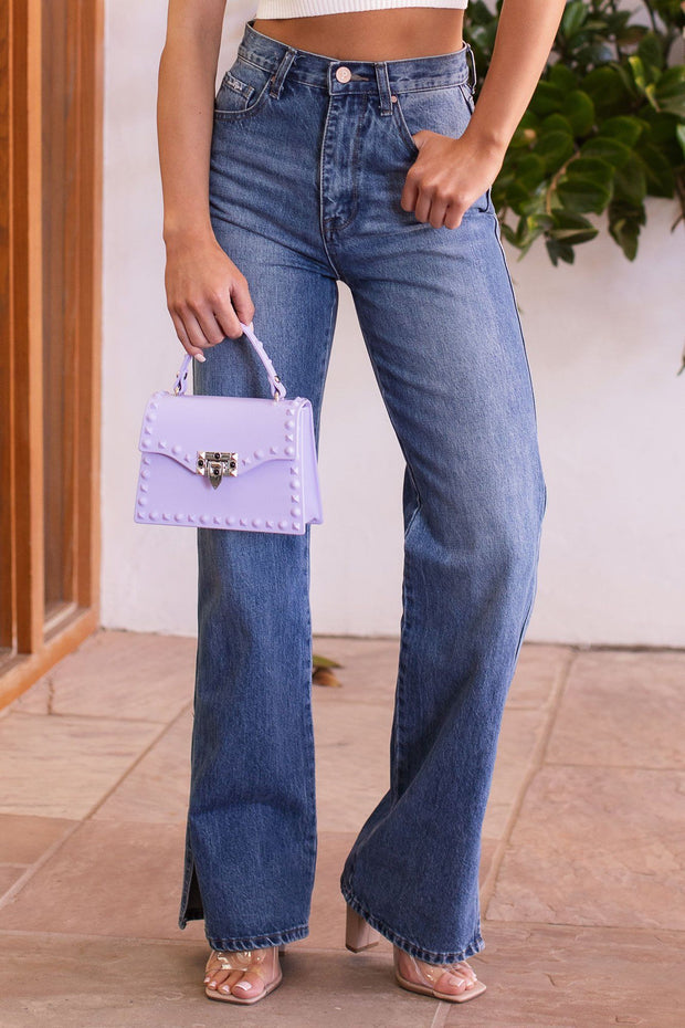 On Fire Denim Slit Flare Jeans