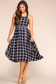 Priceless | Navy Checked | Midi Dress | Womens