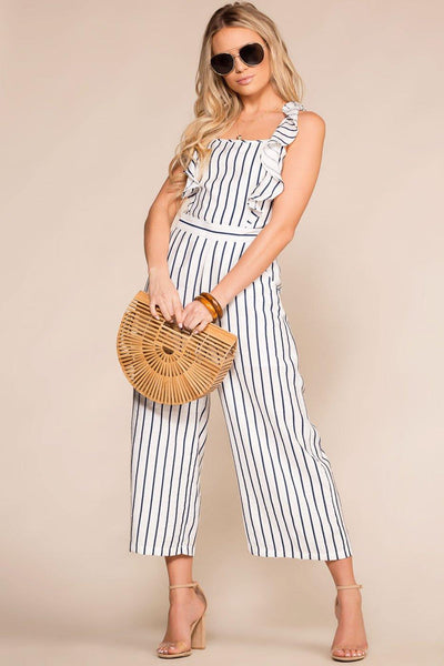 Priceless | Navy | White | Tie-Back Jumpsuit | Womens