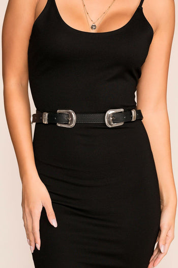Priceless | Black | Double Buckle | Belt | Womens