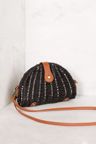 Black Woven Crossbody Purse