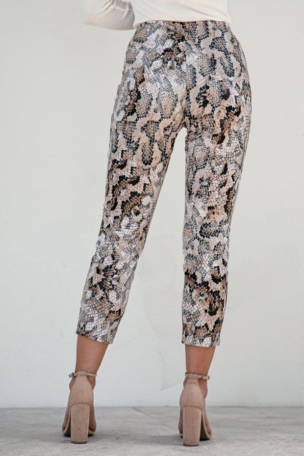 Black Snakeskin Crop Leggings