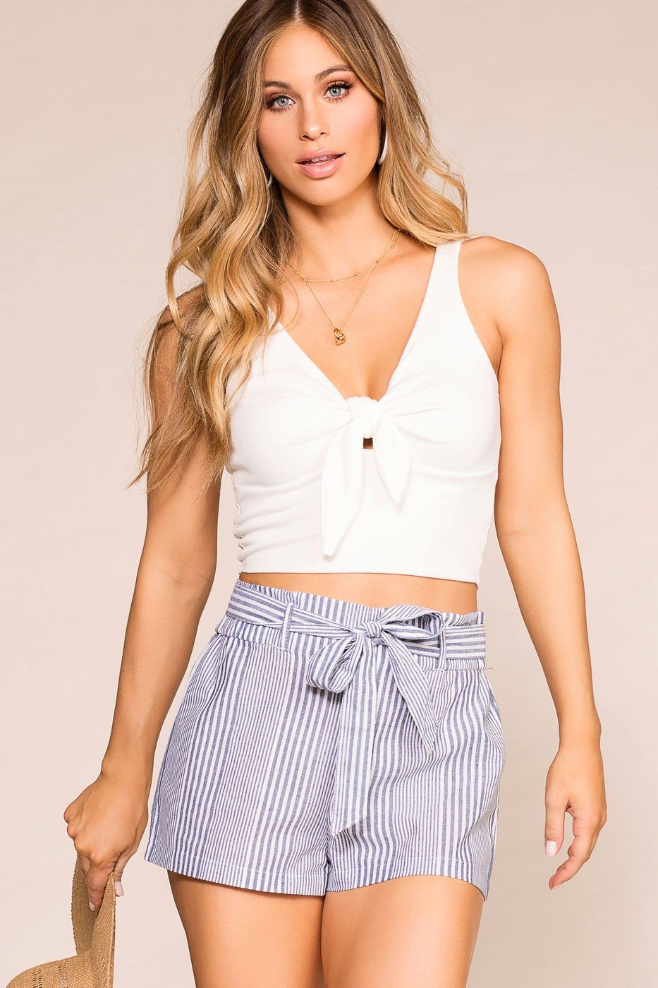acec791342022 One Sunny Day Blue Striped Paperbag Shorts