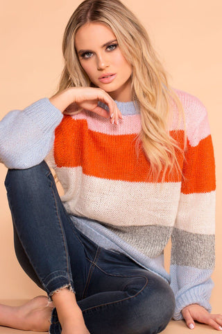Moving On Lavender Knit Distressed Sweater