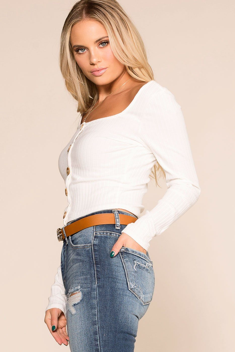 Priceless | White | Button | Long Sleeve | Crop Top | Womens