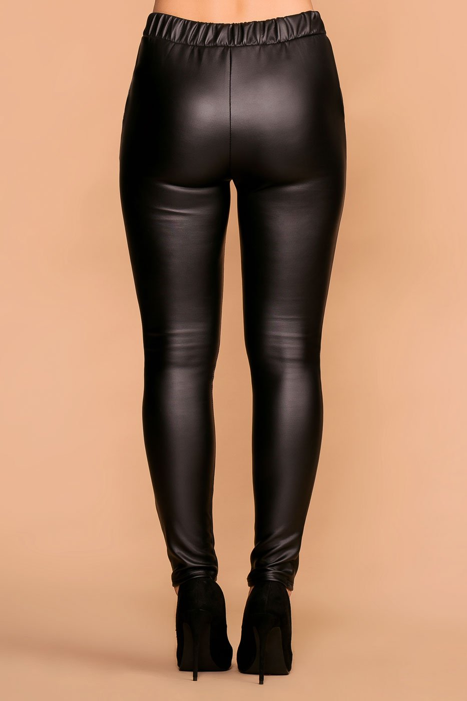 Priceless | Black | Faux Leather Pocket Leggings | Womens