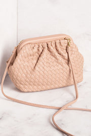 Taupe Woven Clamshell Purse