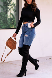 Black Crop Turtleneck Top