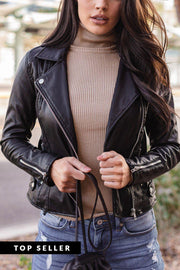 Own It Black Vegan Leather Jacket