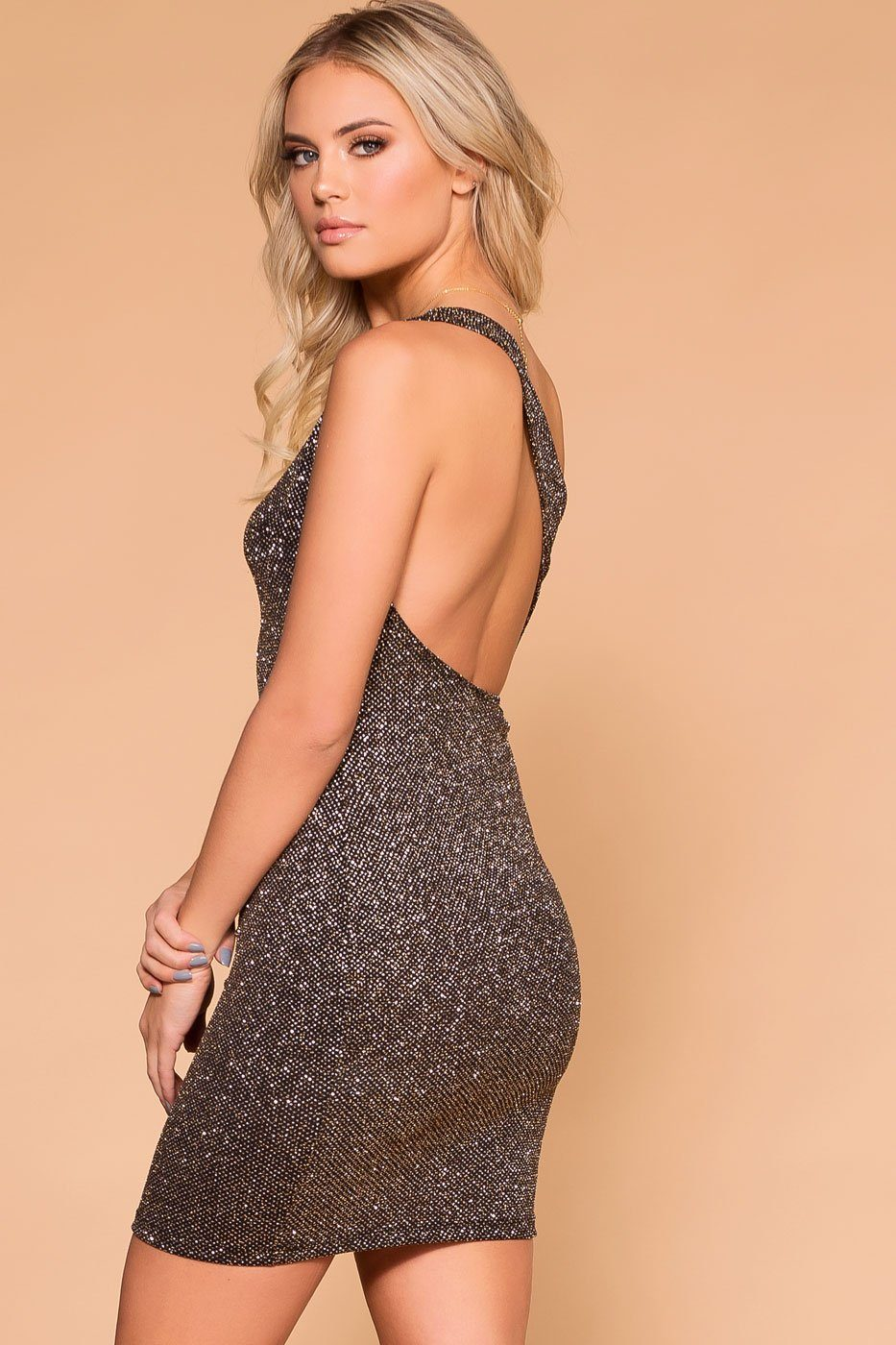 Priceless | Bronze Glitter | Bodycon Dress | Cocktail Dress | Womens