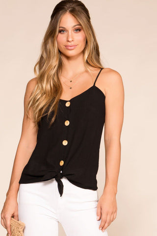 Optimistic Black Button Long Sleeve Crop Top