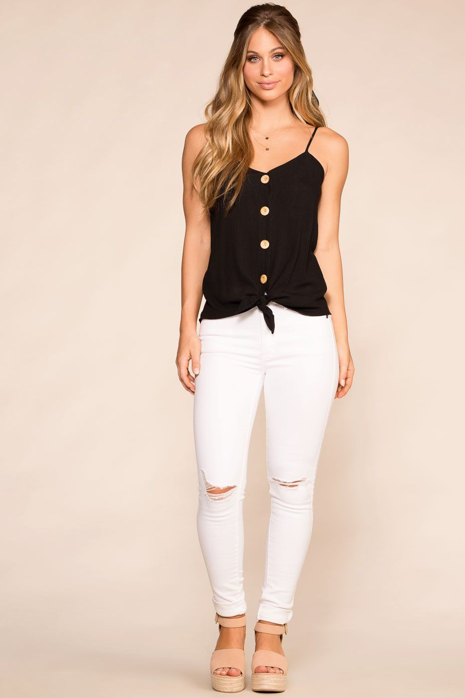 Paige Black Button Tank Top | Rosegold