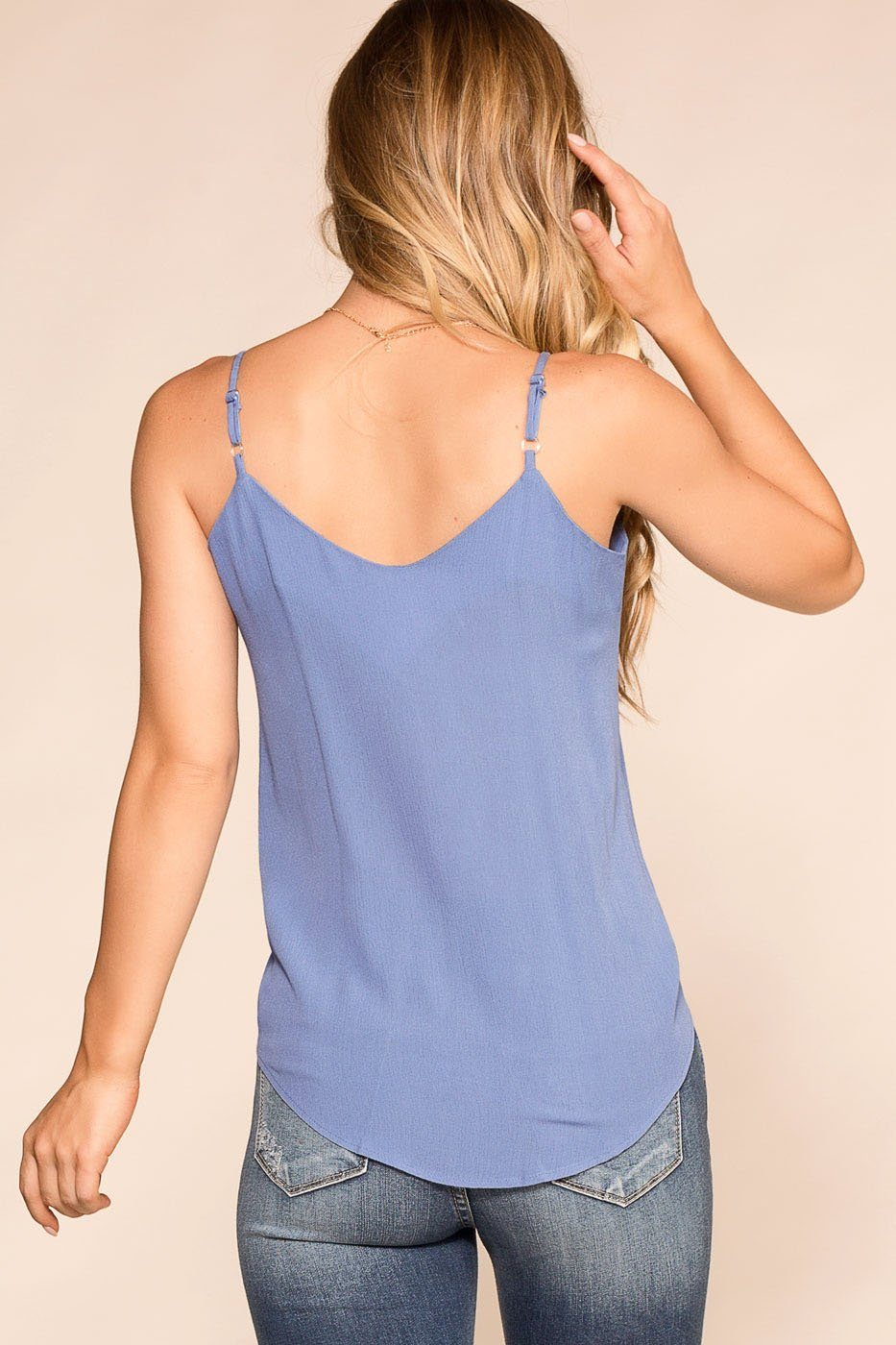 Paige Blue Button Tank Top | Rosegold