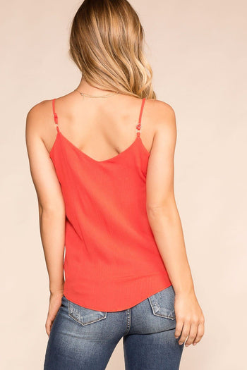 Paige Coral Button Tank Top | Rosegold
