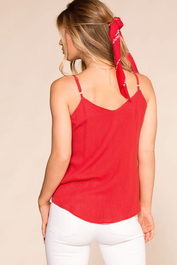 Paige Red Button Tank Top | Rosegold