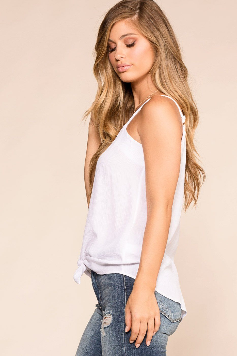 Paige White Button Tank Top | Rosegold