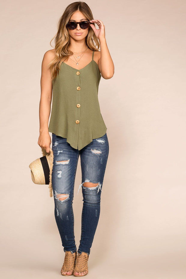 Paige Sage Button Tank Top | Rosegold