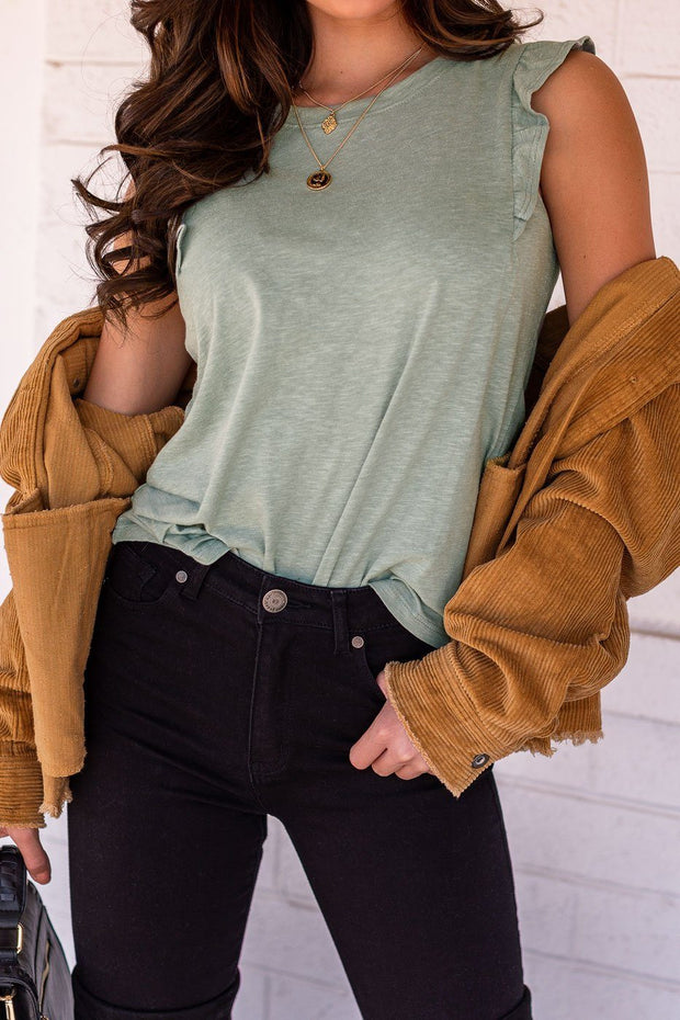 Sage Ruffle Shoulder Top