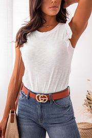 White Ruffle Shoulder Top