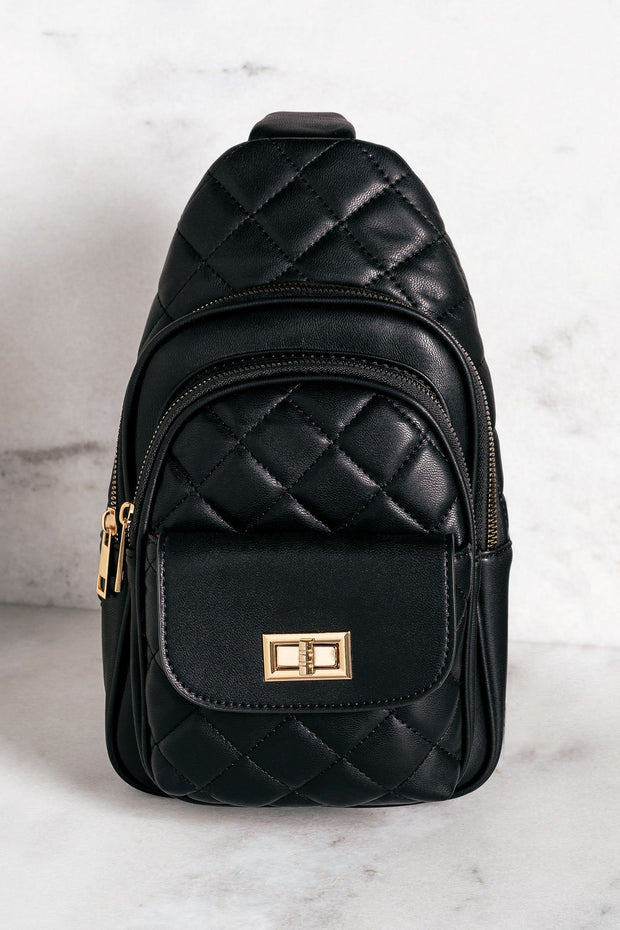 Black Quilted Crossbody Purse