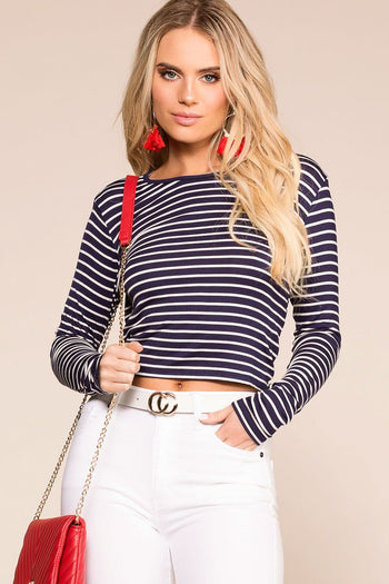 Penelope Navy Stripe Open Back Crop Top
