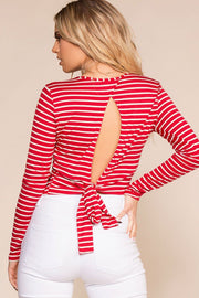 Priceless | Red Stripe | Open Back Top | Crop Top | Womens