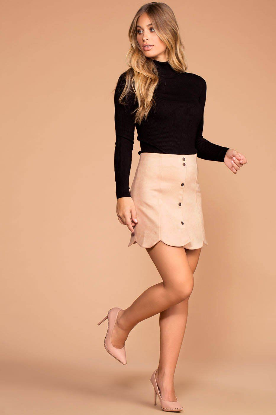 Penny Pink Suede Snap Front Scalloped Skirt | Hyfve