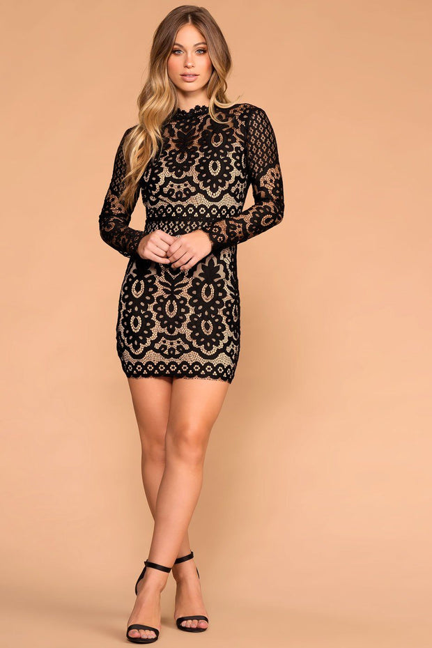 Priceless | Black | Lace Mini Dress | Long-Sleeves | Womens