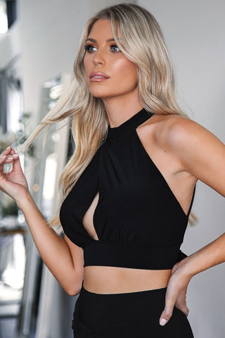 Christie Black Striped Crop Top