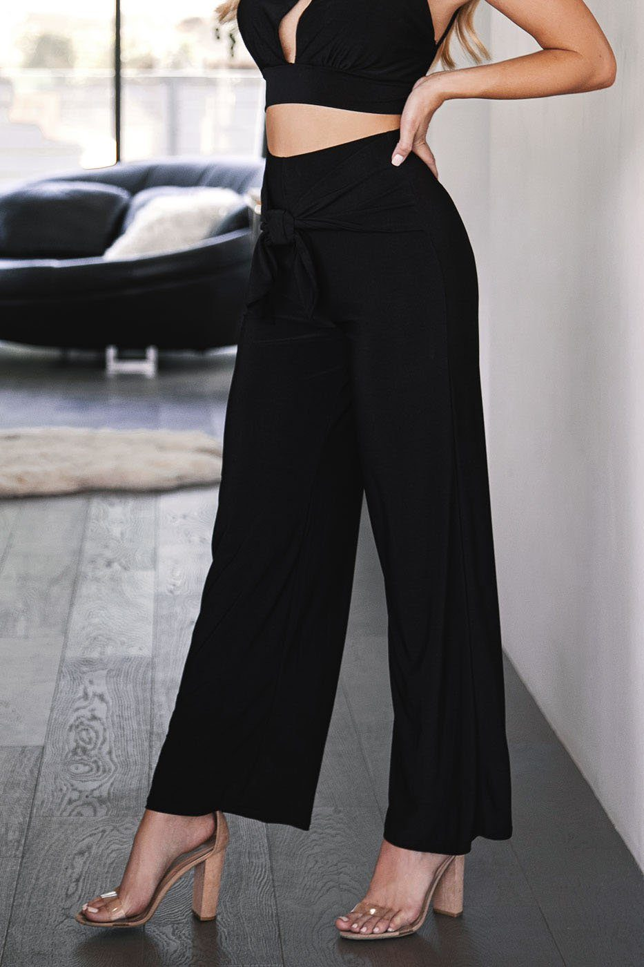 Perfect Match Black Tie-Front Pants
