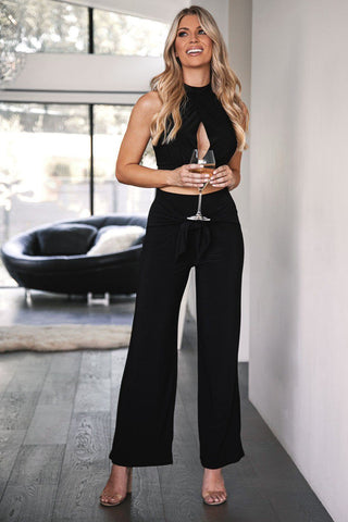 Hope Black Buttoned Crop Top