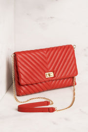 Red Chevron Handbag