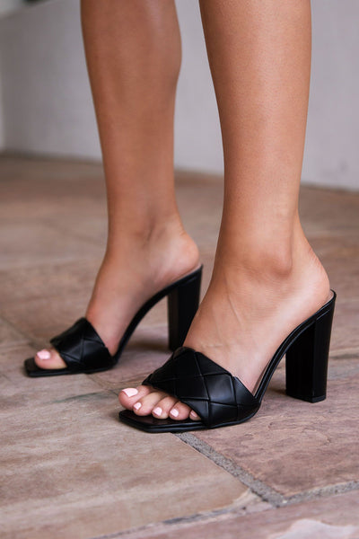 Black Woven Slide-On Heels