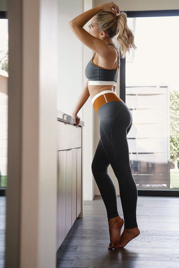 Camel and Grey Athletic Wear Crop Top