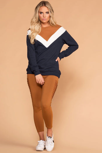 Navy and Coco Chevron Colorblock Sweatshirt | Mono B