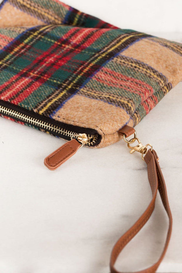 Plaid Beige Woven Clutch