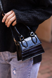 Black Mini Croc Purse