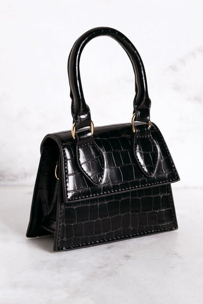 Playing Catch Up Black Mini Croc Purse