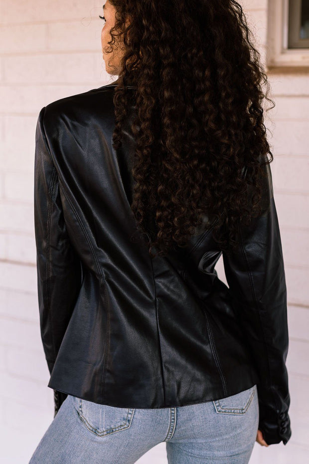 Power Trip Black Vegan Leather Blazer