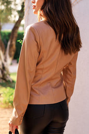 Camel Vegan Leather Blazer