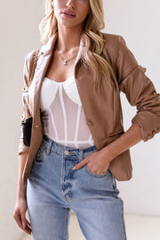Power Trip Camel Vegan Leather Blazer