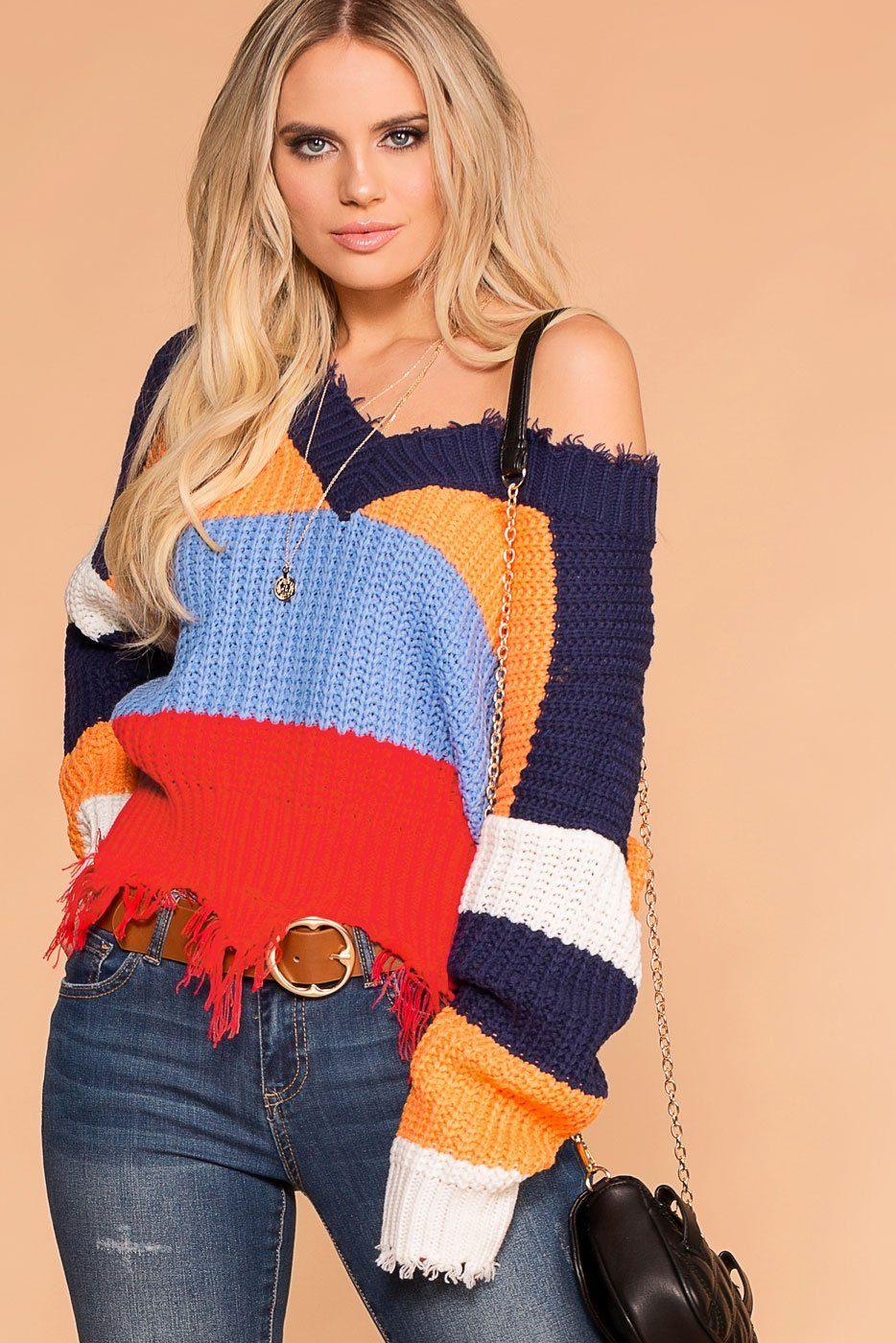 14ef2775644b Power Up Colorblock Distressed Knit Sweater