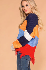 Priceless | Distressed Sweater | Colorblock Sweater | Womens