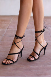 Black Lace-Up Heels