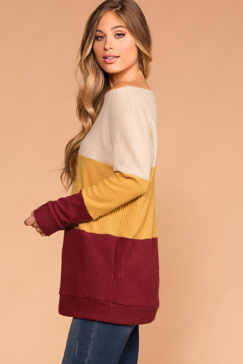 Pumpkin Cider Burgundy Thermal Sweater Top