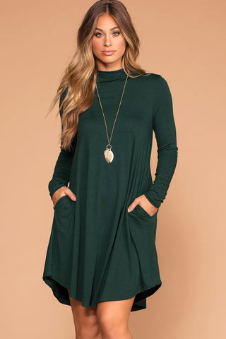 Catching Leaves Swing Pocket Dress - Olive