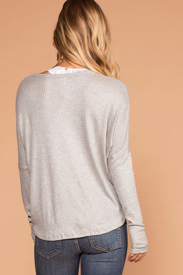 Raquel Grey Button Tie-Front Waffle Knit Top