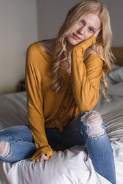 Mustard Button Tie-Front Waffle Knit Top